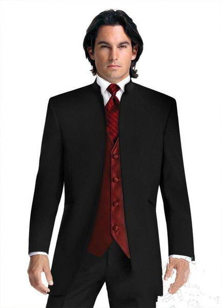 New Cool Groom Wear Nero Groomsmen Mandarino Risvolto Smoking dello sposo Abiti da uomo Matrimonio / Ballo / Cena Best Man Blazer (Giacca + Pantaloni + Cravatta + Gilet) 652