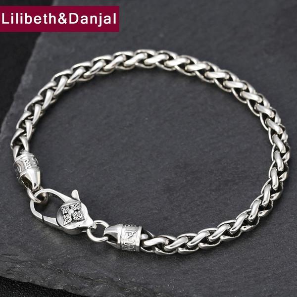 2019 Coppia Buddha Mantra Vajra della corda del tessuto braccialetto dei braccialetti 100% 925 d'argento delle donne degli uomini del braccialetto di amicizia B51 gioielli
