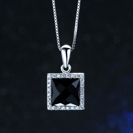 Black Agate Pendants Woman 's Necklaces 925 Silver Jewellery Slide Square Swell ns Cool Elegant Personality Grandmother Gifts 19*11mm 6 pcs