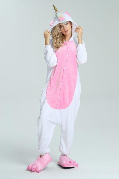 Wholesale Onesie Animal Stitch Unicorn Kigurumi Adult Unisex Women Pajamas Hooded Sleepwear Winter Flannel Halloween Onesies