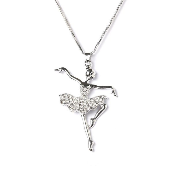 Wholesale- Fashion Silver Plated white Dancing Ballerina Dancer Ballet Dance Pendant Necklace Charm Girls Christmas Valentine's day Gift