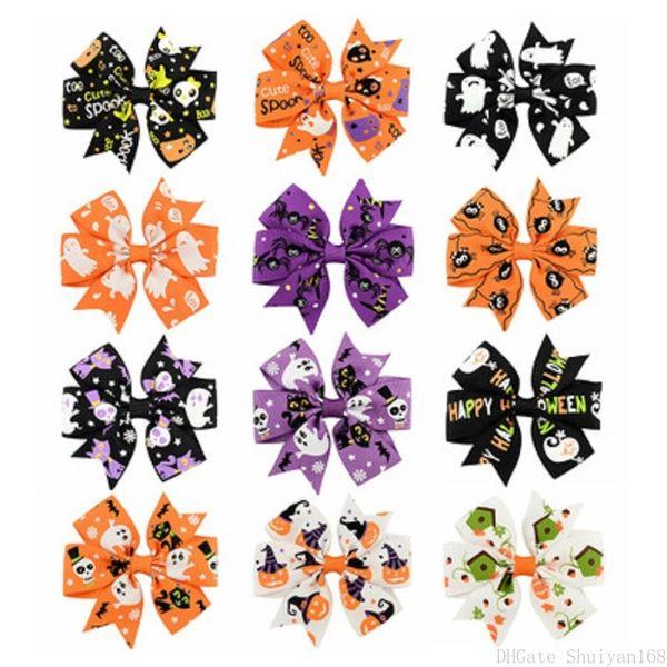 Chrideren Halloween Boutique Archi per capelli 3 pollici 12 pezzi Zucca Cranio Clip per capelli Ringraziamento Accessori per capelli Forcine Regalo per ragazze Bambini