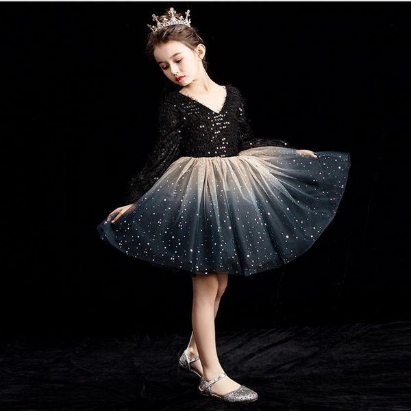 Varejo vestido de festa da menina crianças vestidos de princesa para meninas full manga lantejoula preto champagne executar dress crianças roupas e92458