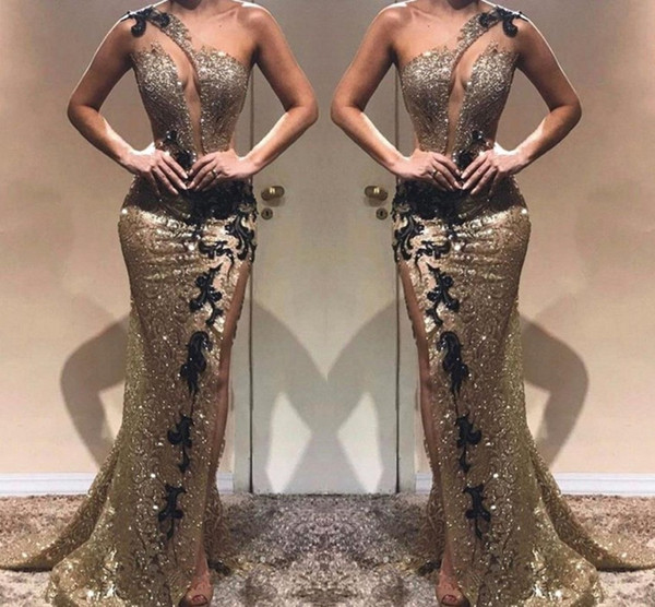 Abiti da sera spaccati laterali eleganti Mermaid One spalla argento riflettente con paillettes nere Abiti da celebrità lunghi da festa Abito da ballo BC1440