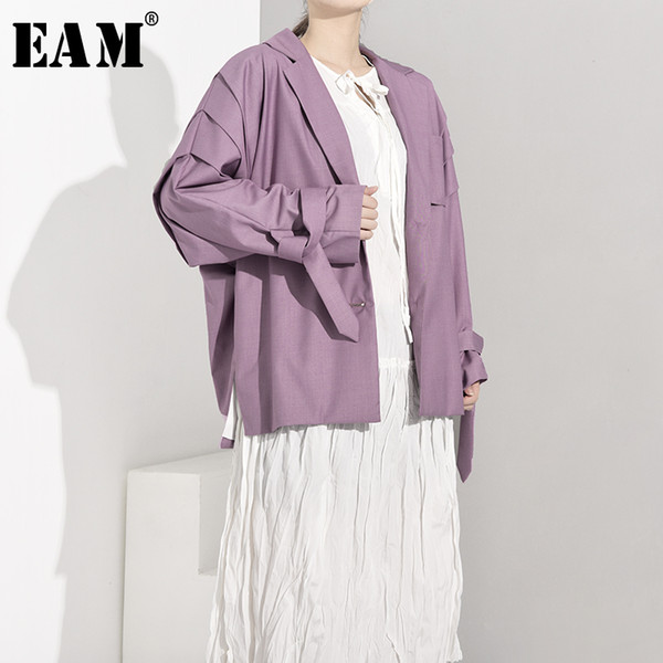 eam] loose fit bandage pleated big size long jacket new lapel long sleeve women coat fashion tide spring autumn 2020 ji5861, Black;brown