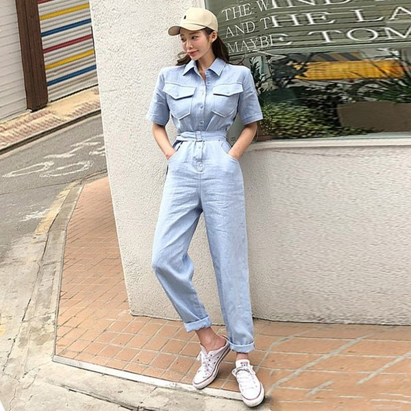 Foamlina Long Tute da donna 2019 New Summer Turn Down Collar Manica corta Cinture Casual Laidies Work Long Romper Tute
