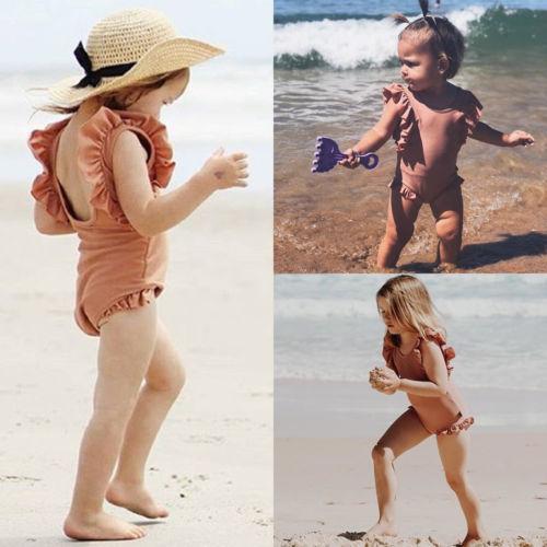 best selling 2020 Cute Summer One Piece Newborn Toddler Kids Baby Girl Sleeveless Swimwear Swimsuit Bathing Suit Swimming Beachwear Swimming Suit