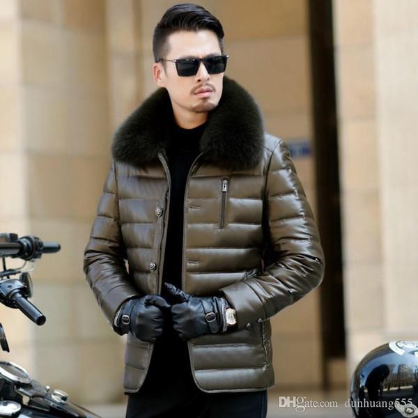 El último diseño 90% Ganso sólido Fox cuello de cuero pato Ligera de Down Outerwears chaqueta de invierno frío