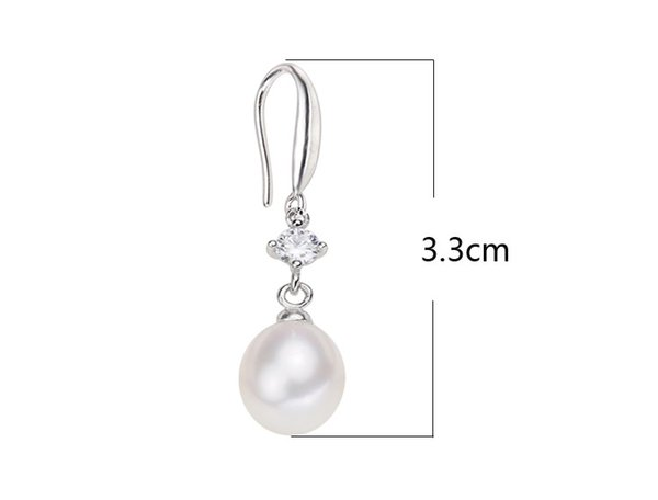 3 Pairs 8-9MM White Pink Black Freshwater Pearl 925 Silver Hook Dangle Earrings