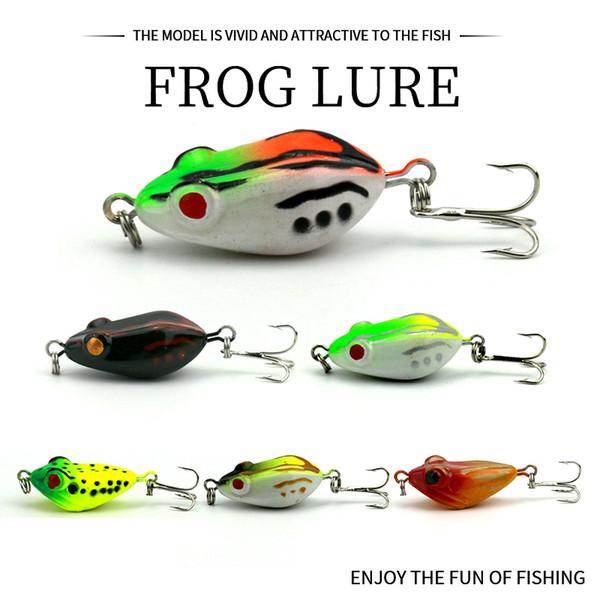 1pcs Soft Tube Bait Plastic Fishing Lures Frog Lure Treble Hooks Mini Frog Lure Bait 4CM 6G Artificial Topwater Soft Bait