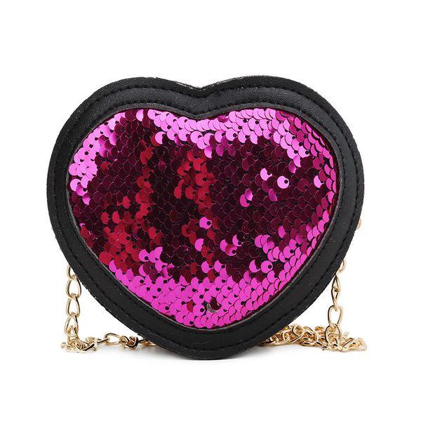 Children Handbag Fashion Girls Kids Cute Casual Retro Heart Shape Sequins Design Cross-body PU Shoulder Messenger 2019 Bag
