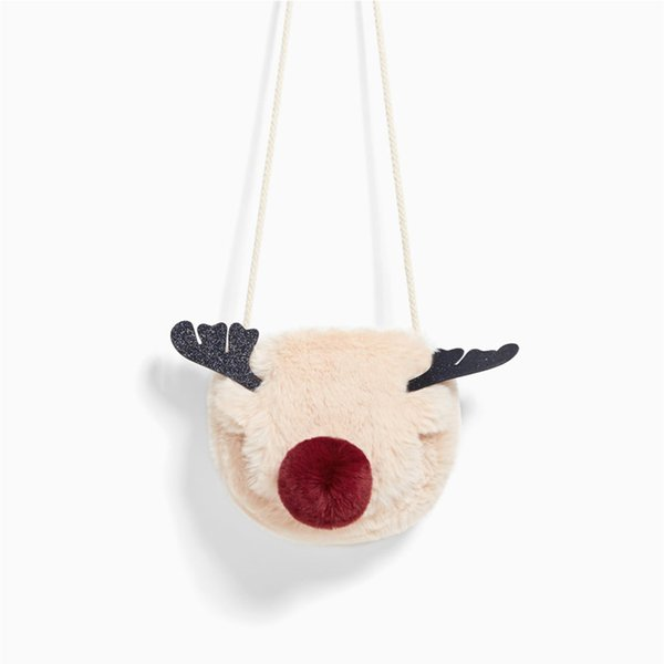 Harajuku Cartoon Red Nose Reindeer Plush Women Bag Mini Elk Female Shoulder Messenger Bag Party Phone Christmas Small