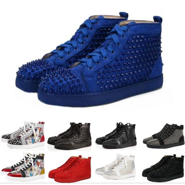 High Top Studded Spikes Casual Flats Red Bottom Luxury Shoes 2016 New For Men and Women Party Designer Sneakers Lovers Genuine Leather