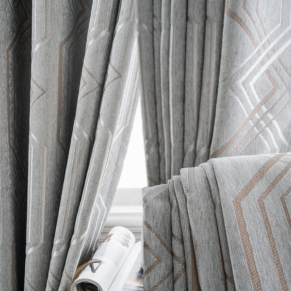 best selling Custom curtains Nordic Simple modern chenille Jacquard thick gary diamond cloth blackout curtain tulle drapes M714