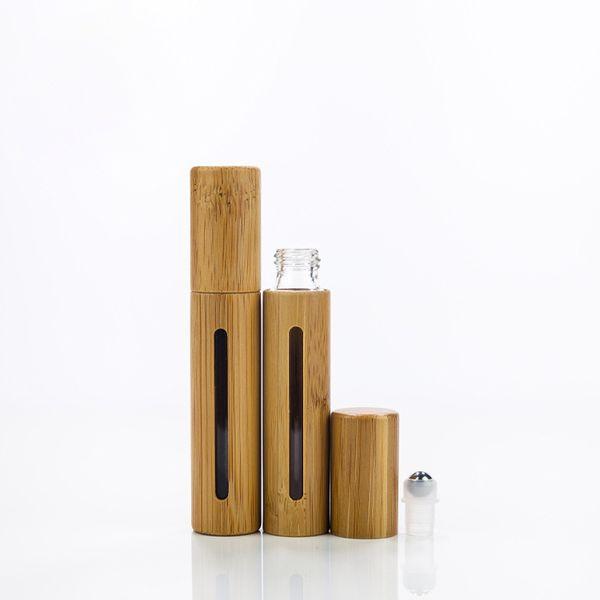10ml Vider Bamboo Roll On bouteille en verre Essential bouteille d'huile avec rouleau à billes en acier inoxydable récipient cosmétique