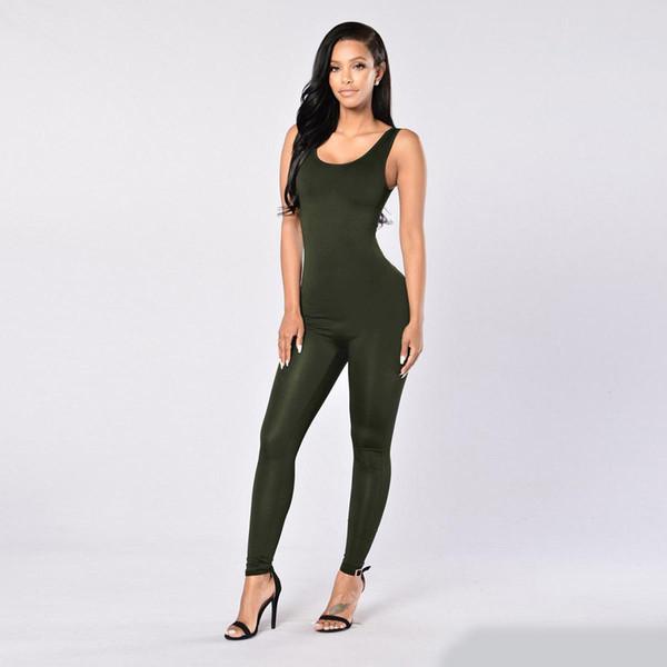 Rompers Bayan Tulum Uzun Pantolon Kadın Tulumlar 2019 Moda Seksi Bodycon Tulum Siyah Şarap Katı Renkler Sıska Tulum