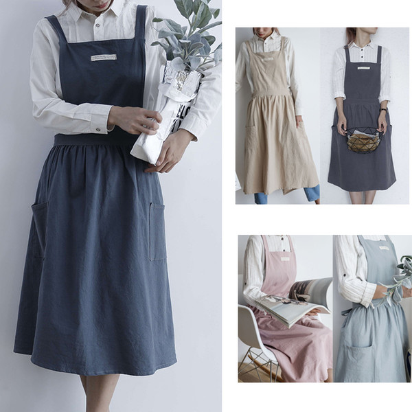 top popular Women Apron Pleated Skirt Design Cotton Uniform coverall Aprons with two pocket Cooking Baking cleaning Cafe Shop apron Home Kitchen clothes 2020