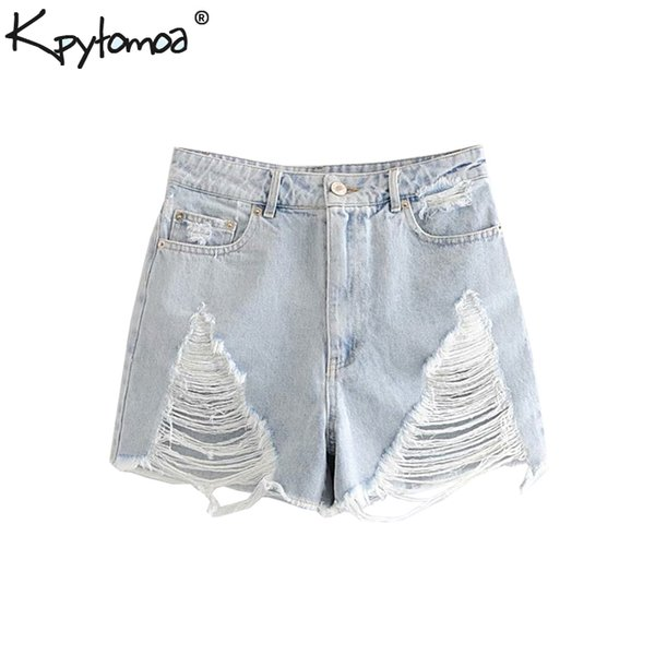 Vintage Sexy Ripped Denim Shorts Women 2019 Fashion High Waist Pockets Frayed Stylish Short Jean Pants Casual Jeans Mujer