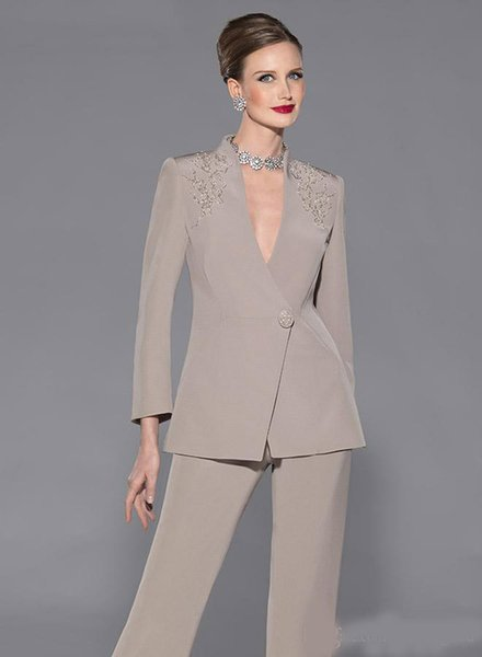Elegant Mother Of Bride Pan Suit Long Sleeves Appliques Satin Mother Of The Bride Custom Made Formal Suit