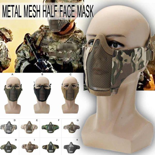 Extérieur Masque De Vélo Demi Face Inférieure En Métal Acier Net Masque Masque Chasse À Vélo Tactique De Protection Demi Visage