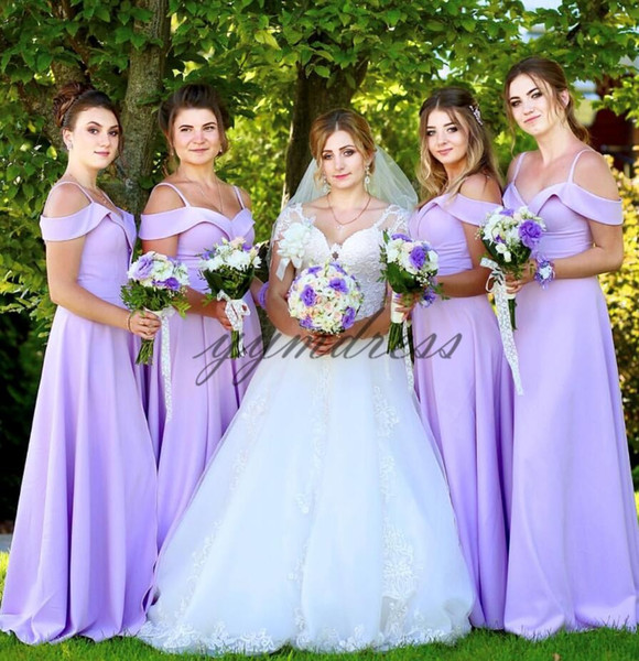 light Purple Bridesmaid Dresses 2019 Spaghetti neck Backless Floor Length Junior Maid of Honor Gowns Custom Made Wedding Party Dress