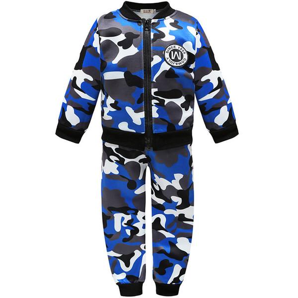 2019 Nuovi Bambini Ragazzi Inverno Caldo di lana Capispalla Jack Cappotto Pantaloni Ragazze Abbigliamento Set Bambino Bambini Con cappuccio Pantaloni Camouflage Tuta 1T-5T