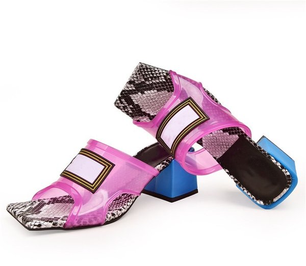 2019 Mulheres Transparentes Sandálias de Salto Médio, Salto Alto Mulas Slides PVC Superior com Couro Sola Made in Italy 6 cm / 9 cm