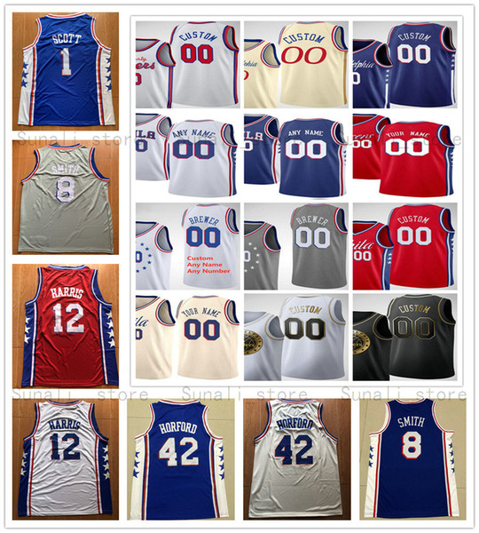 top popular Printed Al 42 Horford Tobias 12 Harris Trey 23 Burke Mike 1 Scott Zhaire 8 Smith Matisse 22 Thybulle Josh 0 Richardson Jerseys 2020