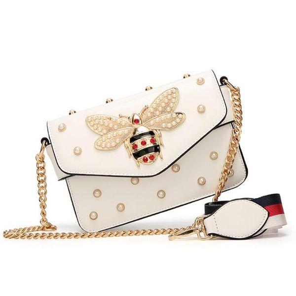 New Brand Women Messenger Bags Black Small Chain Crossbody Bags Female Shoulder Bag Pearl Handbag 2019 Red White