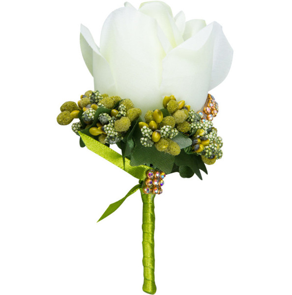 2019 Ivory Man Corsage for Groom Groomsman Silk Rose Flower Wedding Boutonnieres Accessories Pin Brooch Decoration