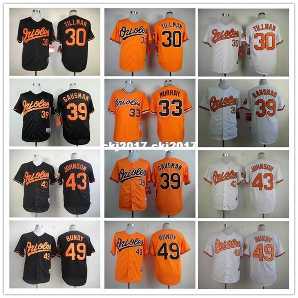 men 30 tillman 33 murray 39 gausman 43 johnson 49 bundy baseball jersey new color white black gray blue