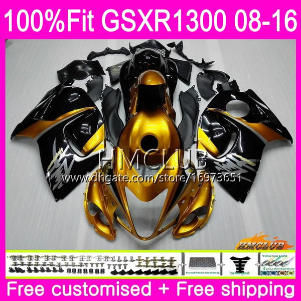Injection For SUZUKI Hayabusa GSXR1300 08 09 10 11 12 23HM.18 GSX-R1300 GSXR-1300 GSXR 1300 2008 2009 2010 2011 2012 Nice Gold black Fairing