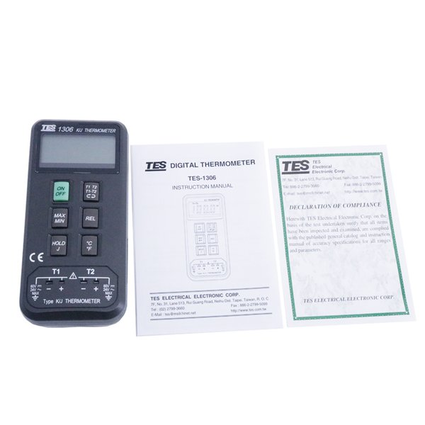 TES-1306 Digital Industrial Thermometer K/J Dual Channels thermocouple Type J : (-200 ordmC to 760 ordmC ) , (-328 ordmF to 1400 ordmF )