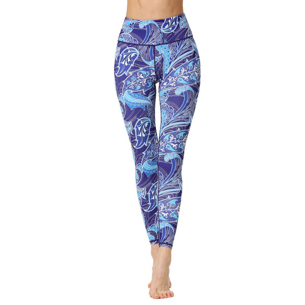 Womens Print Cropped Pants High Waisted Workout Leggings Sports Yoga Running Fitness Gym Dance Cropped Trousers Elastic Tights Skinny Pants