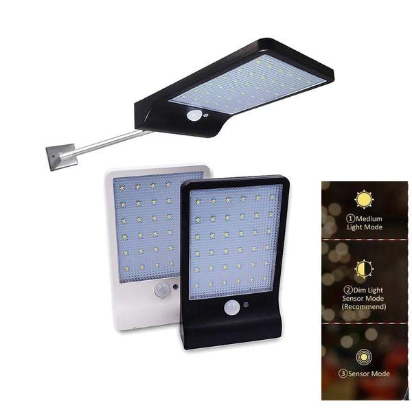 Poste de aluminio 48/36 LED Sensor de movimiento solar Jardín al aire libre Luces de seguridad Luz Solar Led Para Exterior proyector de calle Wa para patio ga