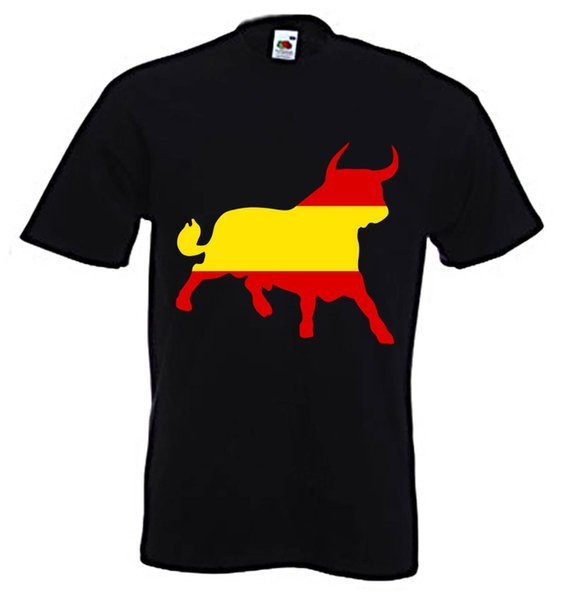 SPANISH BULL T-SHIRT - Espana Spain Flag El Toro Football Soccer - S to 3XL funny 100% Cotton suit hat pink t-shirt