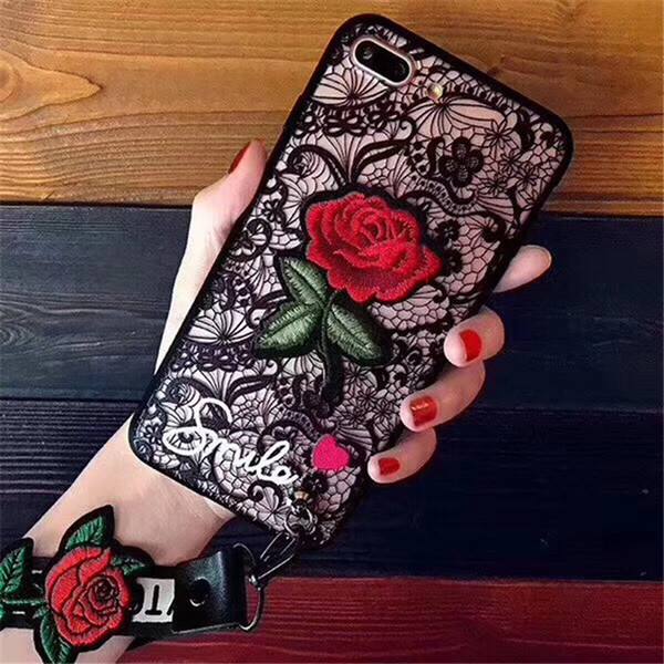 New Arrival with Rope Rose Phone Cases for IPhone X XS 7 8 6 PLUS European Style Flower Embroidery Cover Black White