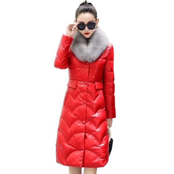 2019 New Winter Plus Size 5xL Women Elegant Real Fox Fur Collar Natural Sheepskin Down Jacket Female Genuine Leather Coat R253