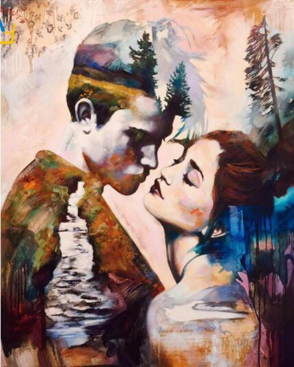 40x50cm oil painting Coloring by numbers painting, calligraphy acrylic painting drawing lovers modular images numbered wall art crafts