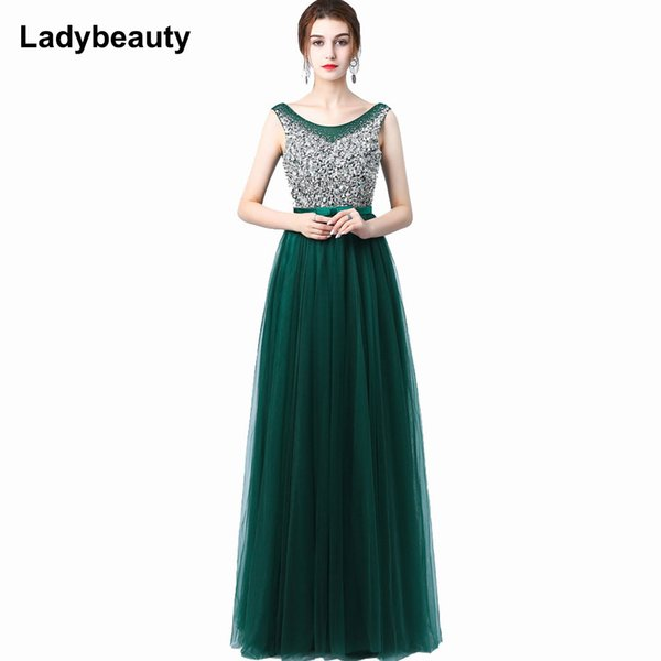Ladybeauty 2018 New Sexy Luxury Long Style Tulle Evening Dress With Bling Bead And Crystal Pearl Floor Length For Prom Party Y19051401