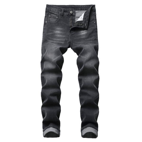 Hxroolrp 2019 Mens New Fashion Jeans Men Non Ripped Personality Slim Fit Zipper Stretch Denim Pants Elastic Waist Big Size C1