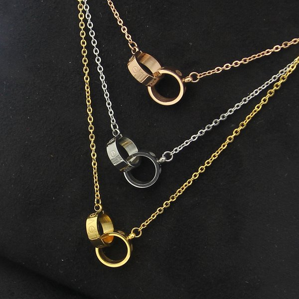 Wholesale Gold Plated Double Rings Pendant Necklace Choker 316L Stainless Steel Two Circle Rings Necklace Jewelry For Women gift