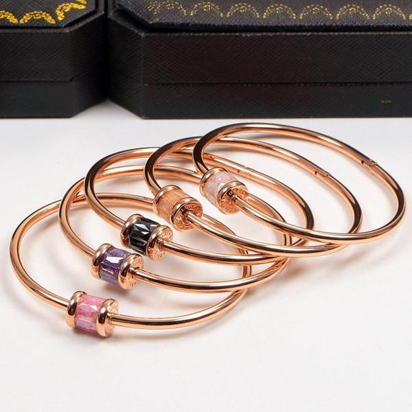 Fashion Titanium Steel Bracelets with Colorful Ceramics Rose Bangles Women Men Bracelet with original box set