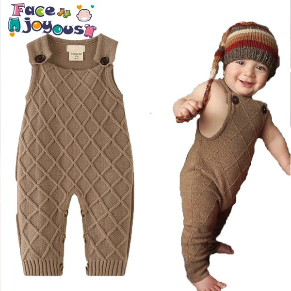 New 2019 Spring Winter Baby Boys Knitted Romper Sleeveless Cotton Plaid Overalls Infant Girls Jumpsuit Onesie Playsuit Clothes Y19061201