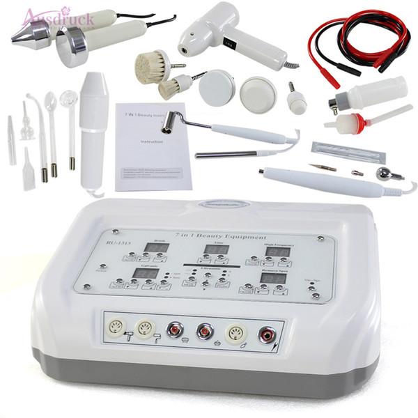 EU tax free 7 in 1 Digital Diamond Microdermabrasion High frequency Galvanic Current Facial Machine Skin Spa Salon equipment Rotary Brush Sp