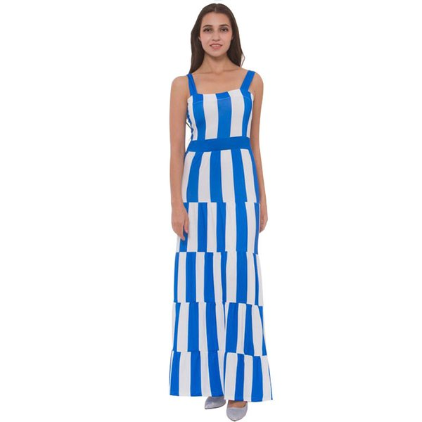 venta oficial descuento garantía limitada Compre Nuevo Vestido Bohemio A Rayas Azul Blanco 2019 Verano El Piso  Vestido Largo Fiesta Elegante Vestidos Sueltos Moda Playa Vestidos  Femeninos A ...