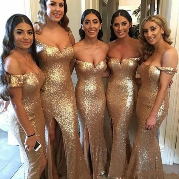 Gold Sequins Split Side High Bridesmaid Dresses 2019 Country Style Off Shoulder Beach Junior Wedding Guest Gown Maid of Honor Dress BM0205