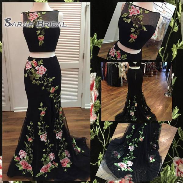 2020 Sexy Zwei Stücke Schwarz Meerjungfrau Applique Homecoming Kleider Formale Cocktail Party Wear Nach Maß Plus Size Abendkleider