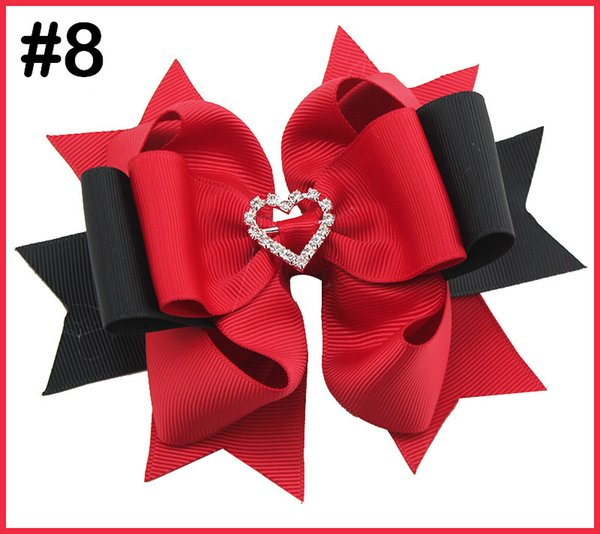 free shipping 50pcs 5-5.5'' rhinestones valentine's layered hair bows solid diamond big hair bows girl hair accessories with clips