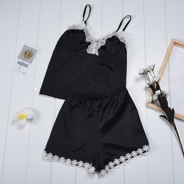 2PC Set womens pajamas satin Lace Sexy Passion Lingerie Babydoll Nightwear pyjama sexy femme Dropshipping#0219